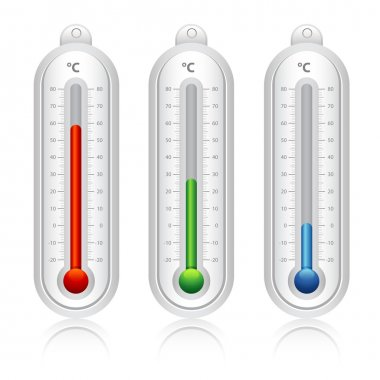 Thermometer Temperature indicators, blue, green, red clip art vector