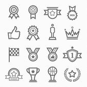 Photo Trophy and prize symbol line icon on white background vector illustration