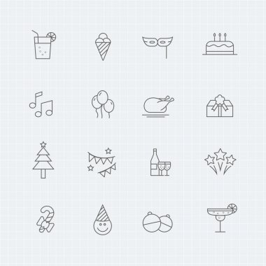 Party vector thin line symbol icon
