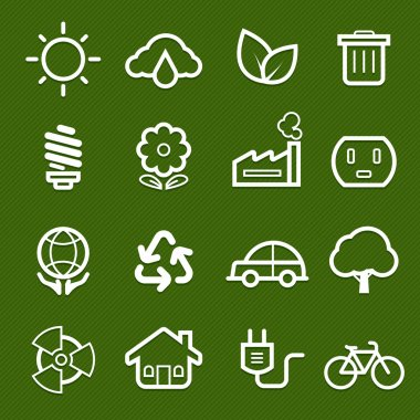 ecology symbol line icon on green background vector illustration