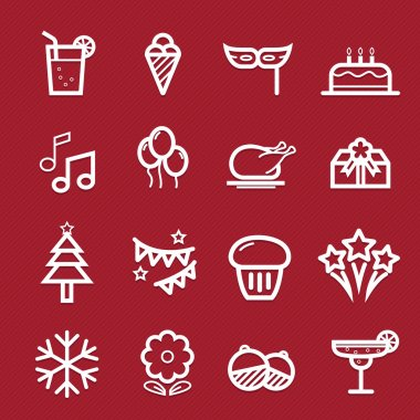 Party symbol line icon on red background vector illustration