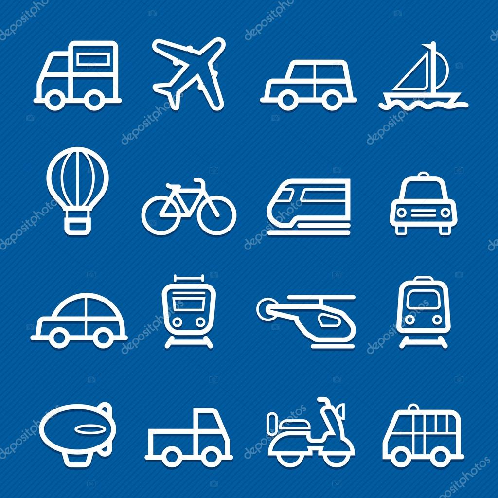 transportation symbol line icon on blue background vector illustration