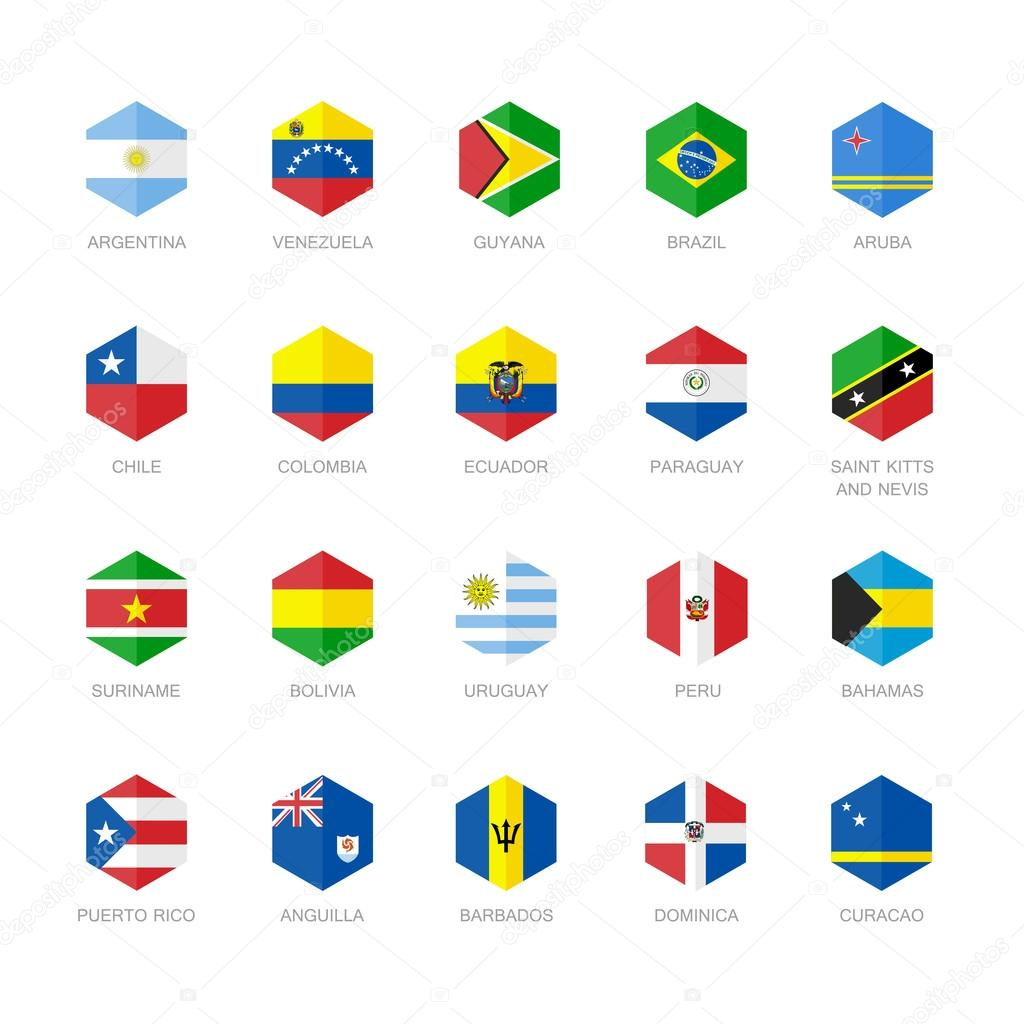 L 39 am rique du sud et des cara bes drapeau ic nes hexagone plat vector design image - Drapeau de l amerique ...