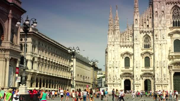 MILAN, ITALY : Pedestrians Walk near Milan Cathedral Duomo Milano Iconic Cathedral Church Sunny Day ( Ultra High Definition, UltraHD, Ultra HD, UHD, 4K, 3840x2160), real time