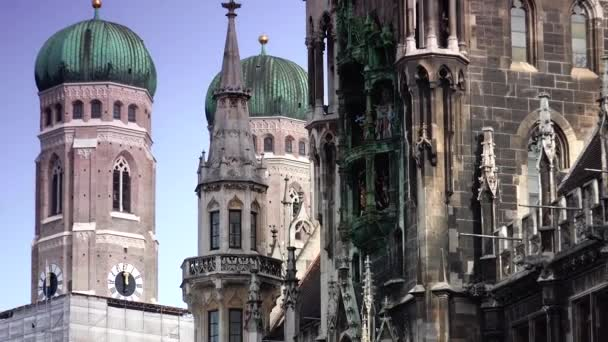 MUNICH, GERMANY : The historical town hall on the main square Marienplatz in the center of the city in Munich, Germany.real time, ULTRA HD 4k