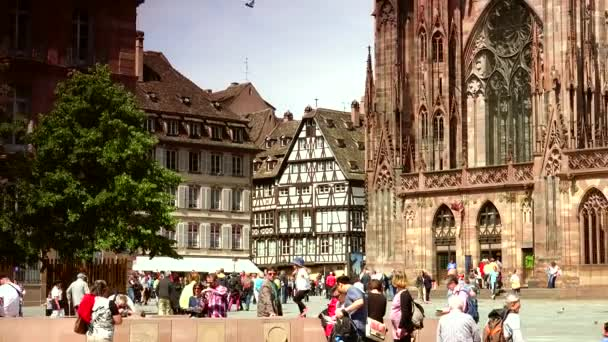 STRASBOURG, FRANCE - MARCH 19, 2016: The main square of Strasbourg, France on March 19. Place Kleber is famous for the cathedral and for its old houses.ULTRA HD 4k, real time