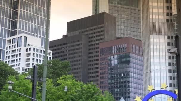 FRANKFURT, GERMANY: Famous German City Symbol Euro Sign Frankfurt Iconic German Landmark ,Ultra HD 4k, real time