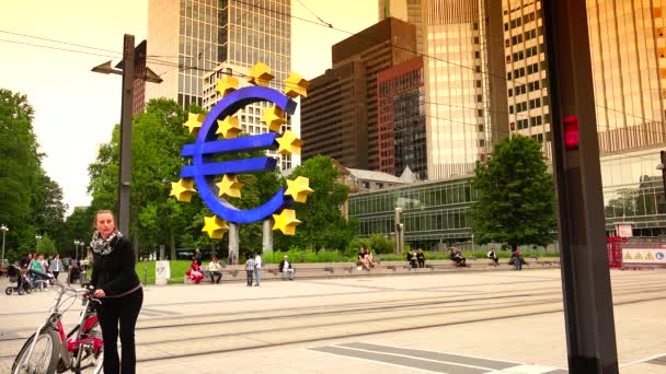 FRANKFURT, GERMANY: Famous German City Symbol Euro Sign Frankfurt Iconic German Landmark ,Ultra HD 4k, real time