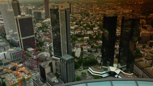 Frankfurt nad Mohanem, Německo, Frankfurt Hlavní letecký pohled na panorama firemní mrakodrapy kancelářské věže budovy, Ultra vysoké rozlišení Ultrahd, Ultra Hd, Uhd, 4k