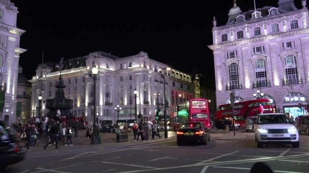 LONDON - ENGLAND, ULTRA HD 4K  Real time:Traffic street in Piccadilly Circus by night