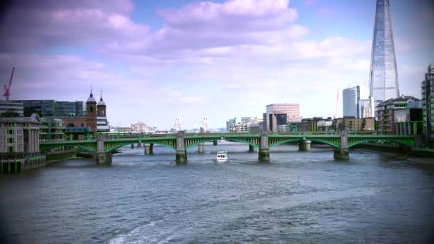 LONDON : London skyline on Thames river with Shard in the background. Completed in 2012, it is the tallest building in the European Union. ULTRA HD 4k,real time,zoom