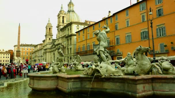 Rome, Italy: Fontana dei Quattro Fiumi (Fountain of the Four Rivers) is a fountain in the Piazza Navona in Rome, Italy.