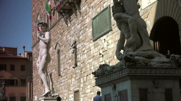 FLORENCE, ITALY: Palazzo Vecchio and the Piazza della Signoria- World Heritage Site in Tuscany.ULTRA HD 4K, real time
