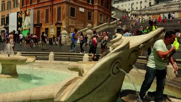 ROME : Fountain Old Boat on Spanish square in Rome, Italy.ULTRA HD 4K, real time,