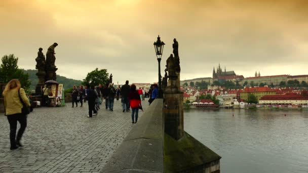 ULTRA HD 4K real time shot,view of Charles Bridge in Prague,