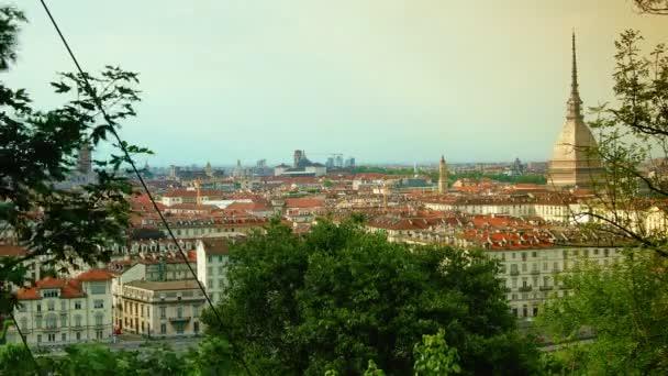 Aerial view of Turin with Mole Antonelliana, Piazza Vittorio Veneto Square, time lapse view, 4k
