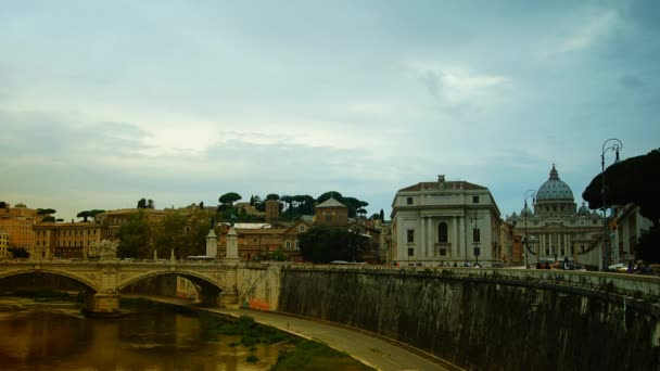 Sunset time lapse and burning the light of the Vatican City, from across the Tevere River,4k, time lapse,zoom and pan