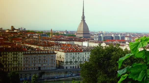 Aerial view of Turin with Mole Antonelliana, Piazza Vittorio Veneto Square, time lapse view, 4k
