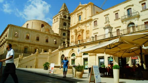 Italy, Sicily, Noto (Siracusa Province): SS. Salvatore Basilica and Monastery baroque facade, time lapse