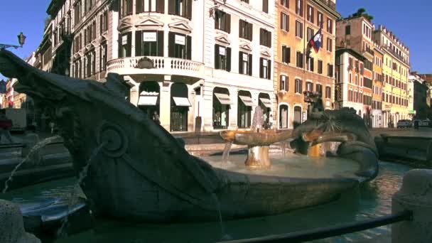 ROME: Fountain Old Boat on Spanish square in Rome, Italy. The fountain was commissioned by Pope Urban VIII and was completed in 1627 by Pietro Bernini and his son, real time hd