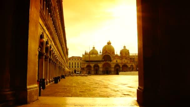 San Marco tér Velence, Olaszország, kontraszt a napfelkeltét, valós idejű, HD