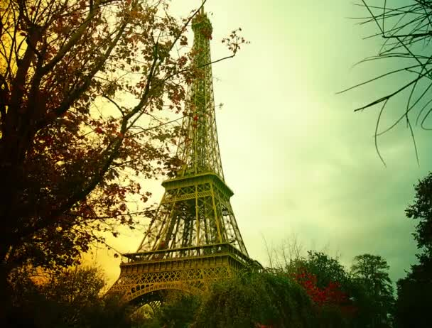 PARIS :Tourist in front of the the Eiffel Tower - Paris, France. time lapse,4k