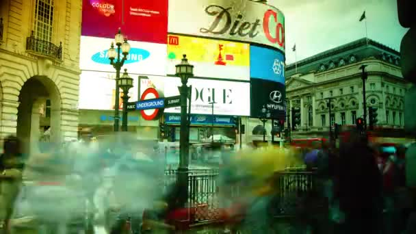 LONDON, UK: Traffic and pedestrians on Piccadilly Circus in the evening in London, UK. Rush hour in London, view to the Piccadilly Circus and Regent Street, time lapse