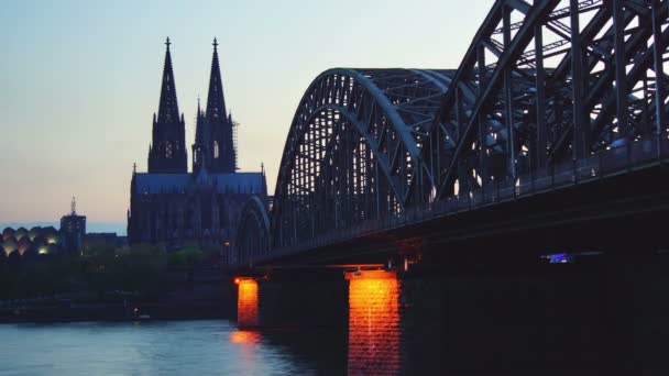 Germany Cologne Cathedral and bridge, time lapse, sunset,4k