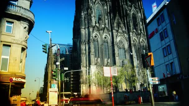 COLOGNE, GERMANY : The north side of Cologne Cathedral in Cologne, Germany. Cologne Cathedral is a famous medieval church. Tourists and walkers rest on the steps of the cathedral.time lapse,4k