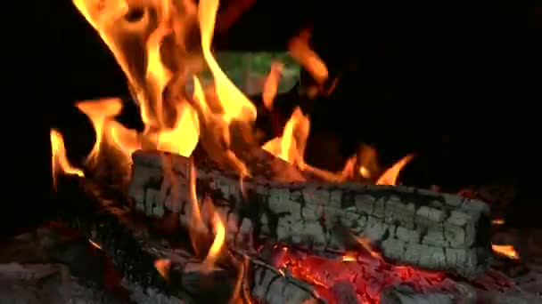 ULTRA HD 4K real time shot, Close up of flames burning wood. In a conventional stove, when wood is added to a hot fire, a process of pyrolysis or destructive distillation begins.