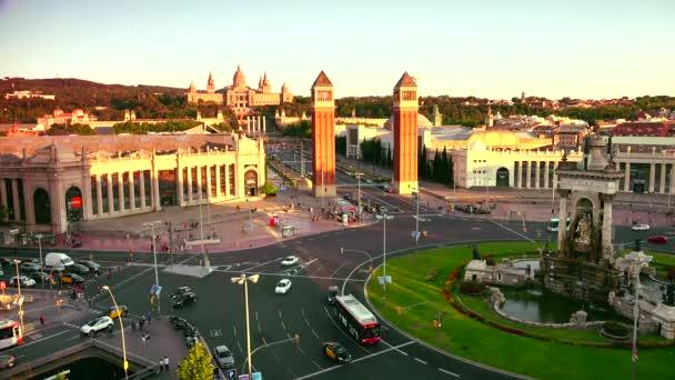 Plaza dEspanya from Arenas de Barcelona,ULTRA HD 4K, real time, zoom