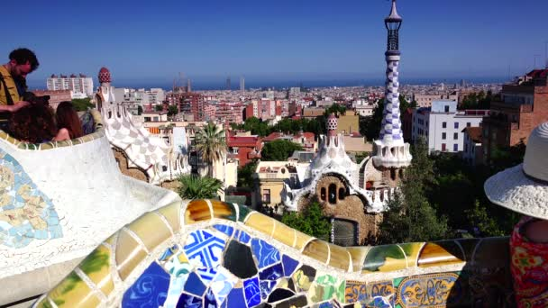 BARCELONA - MAR 07: A shot in Parc Guell, one of the citys major tourist attractions, real time, Barcelona, Spain. MAR 07, 2015.ULTRA HD 4K, real time
