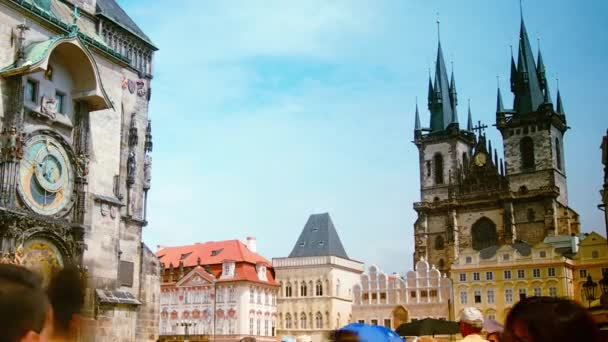 Prague, Czech Republic, August 2015 - Time lapse of people moving past the astronomical clock and through Old Times square, in the center of Prague.