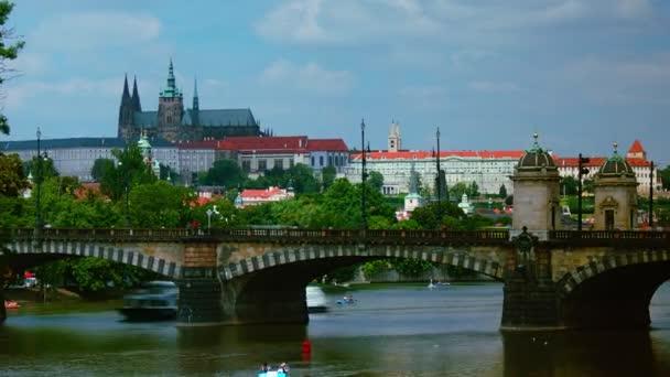 Beautiful view of Pragues center part with bridges above Vltava river, Czech Republic, time lapse,4k