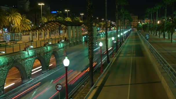 Urban scene of traffic on a major road at dusk in Barcelona, Spain, Ronda Litoral, time lapse view, 4k