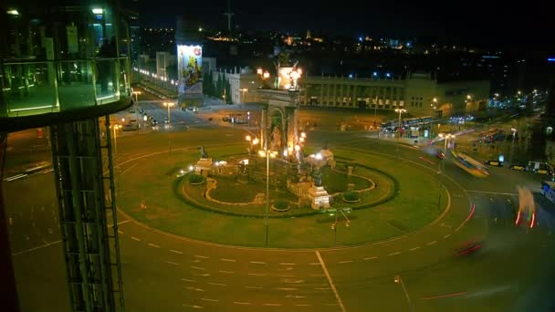 BARCELONA, SPAIN - MAR 26: Plaza dEspanya from Arenas de Barcelona  Arenas de Barcelona on MAR 26, 2015 in Barcelona, Spain. The old bullring, built in 1900, is since 2011, after an intense remodeling, a shopping and leisure center.time lapse