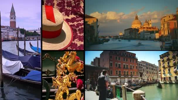 Benátky, Itálie-circa 2015: Ultra HD 4k reálný čas  time lapse shot; Koláž s více scénou v Benátkách, Itálie