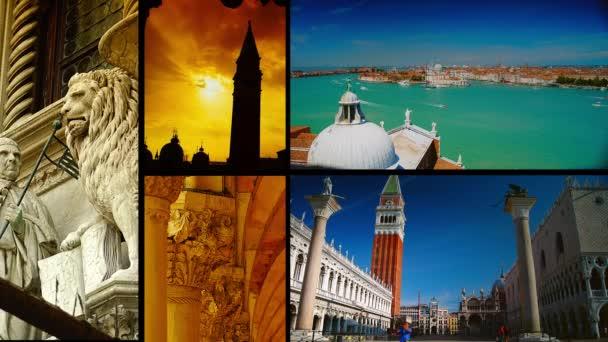 Venice, Olaszország-Circa 2015: ultra HD 4k valós idő  time lapse shot; Több jelenet kollázs, Velence, Olaszország