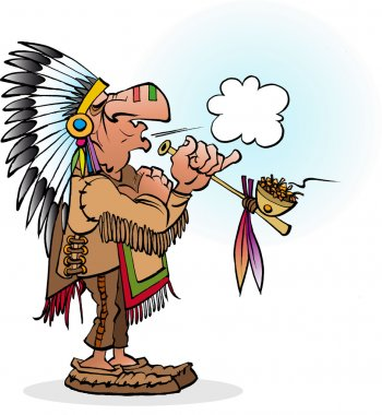 Vector cartoon illustration of an indian chief smoking a pipe
