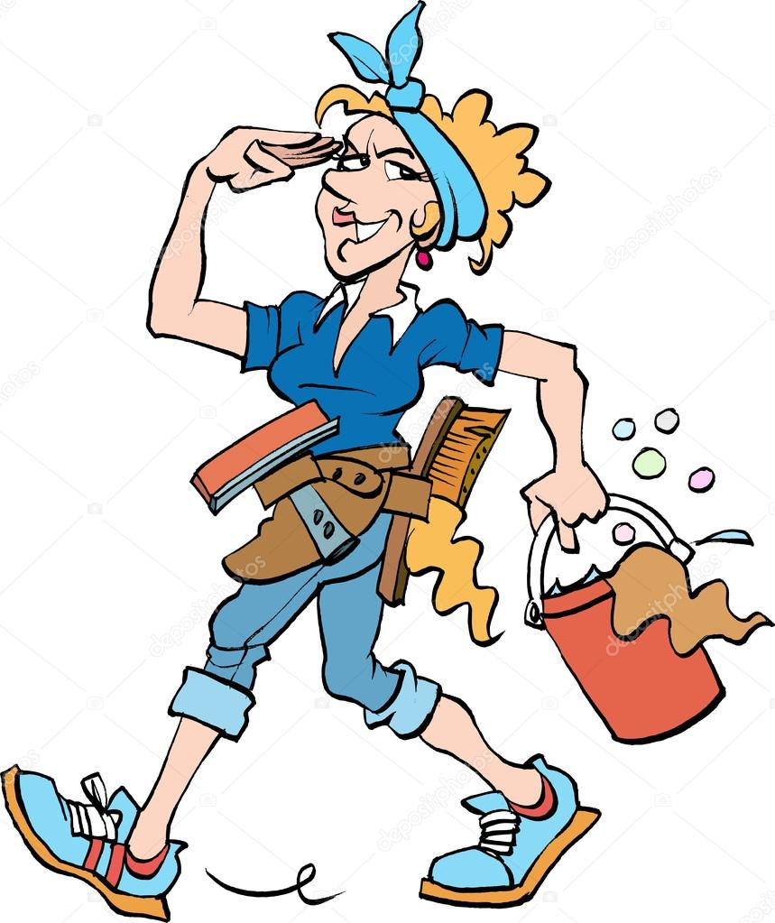 a cleaning lady at work stock vector secher 88100510 rh depositphotos com  cleaning lady pictures clip art