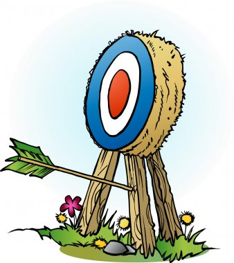 Vector cartoon illustration of an arrow in targets leg