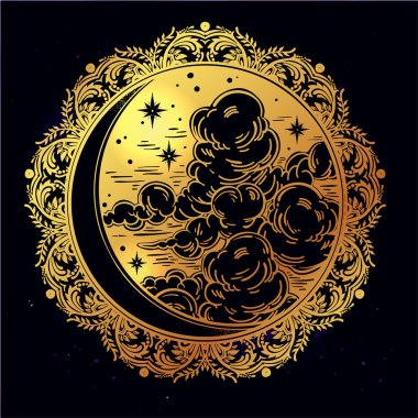 Intricate hand drawn vector crescent moon.