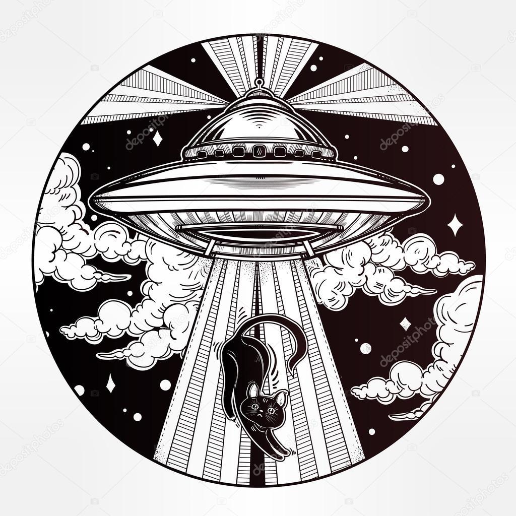 Alien Spaceship. UFO Background. Vector Illustration ...