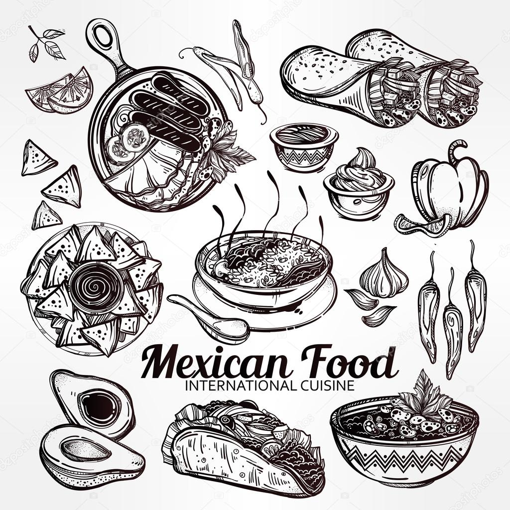 Drawn Pictures Of Mexican Food