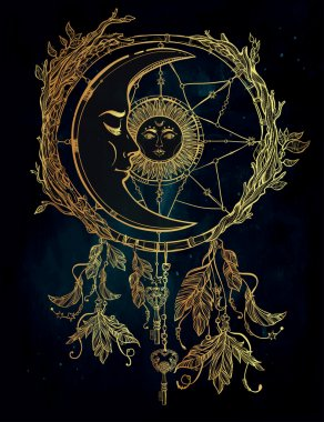 Dream catcher adorned  with sun and moon inside.