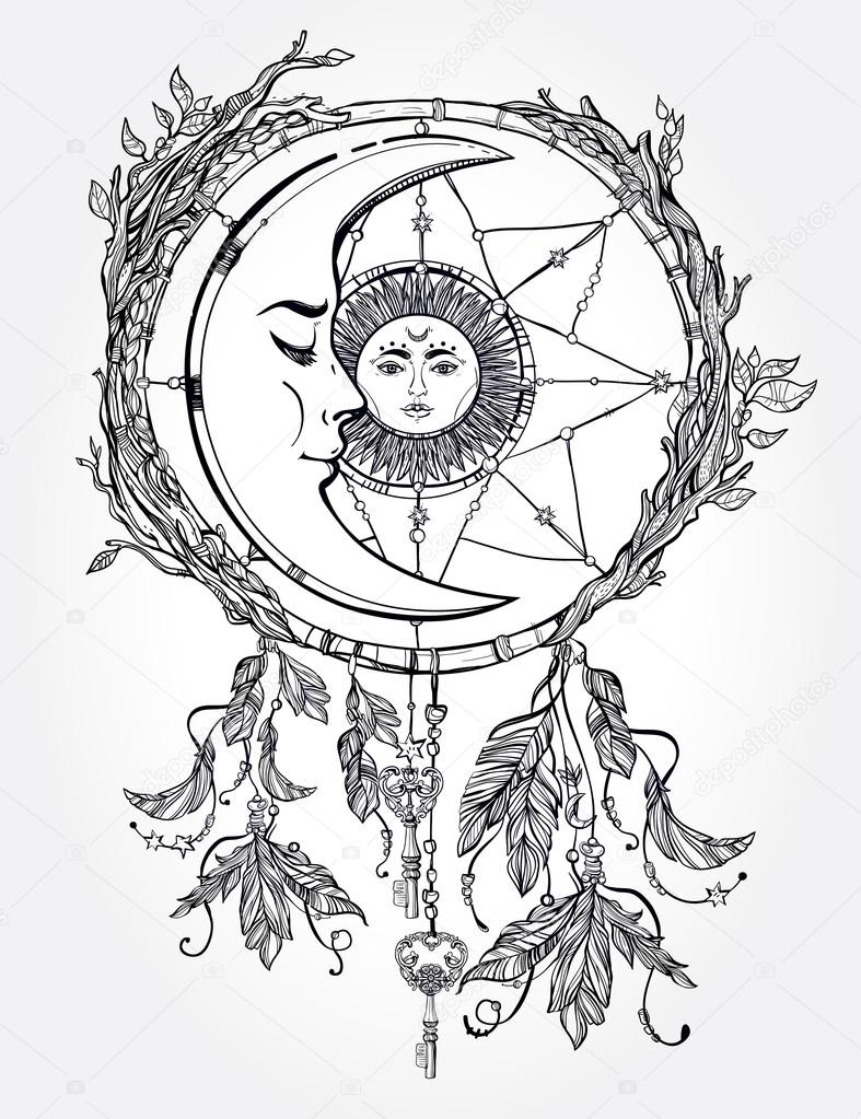 dream catcher adorned with sun and moon inside stock Yin Yang Vector Rough Cool Vector