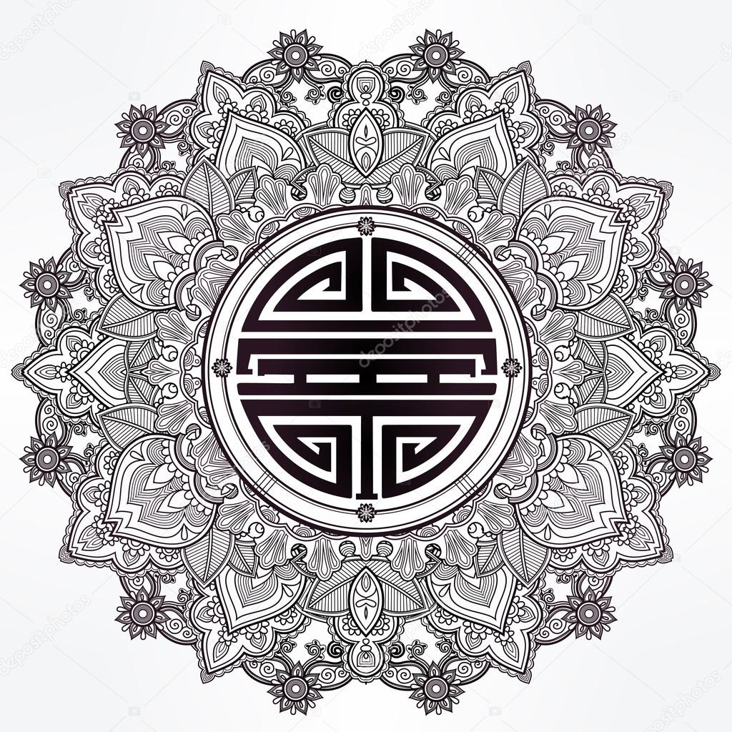 Chinese longevity good luck mandala stock vector katja87 longevity strong health and good luck mandalaaditional chinese symbol for blessing round ornament pattern isolated vector hand drawn background biocorpaavc