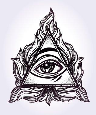 All seeing eye pyramid symbol illustration.
