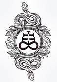 Snake with Satanic cross illustration.
