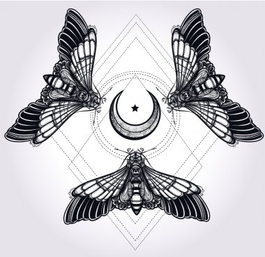 Butterflies with moon, sacred geometry circle.